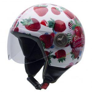 Casco de moto de mujer con fresas
