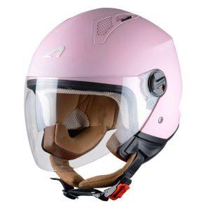 Casco de moto de mujer rosa