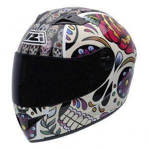 Casco de moto integral con estilo mexicano