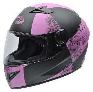 Casco de moto integral rosa y negro