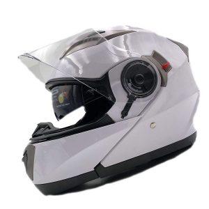 Casco de moto modular blanco